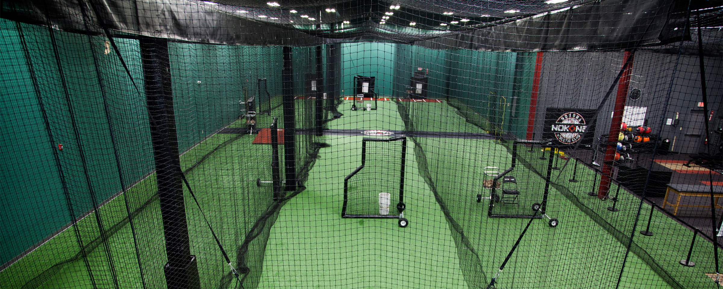 buy fixed shell batting cages for your indoor sports facility from on deck sports
