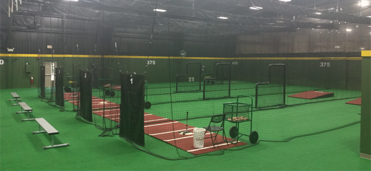 On deck sports facility feature the baseball bank on for Design indoor baseball facility