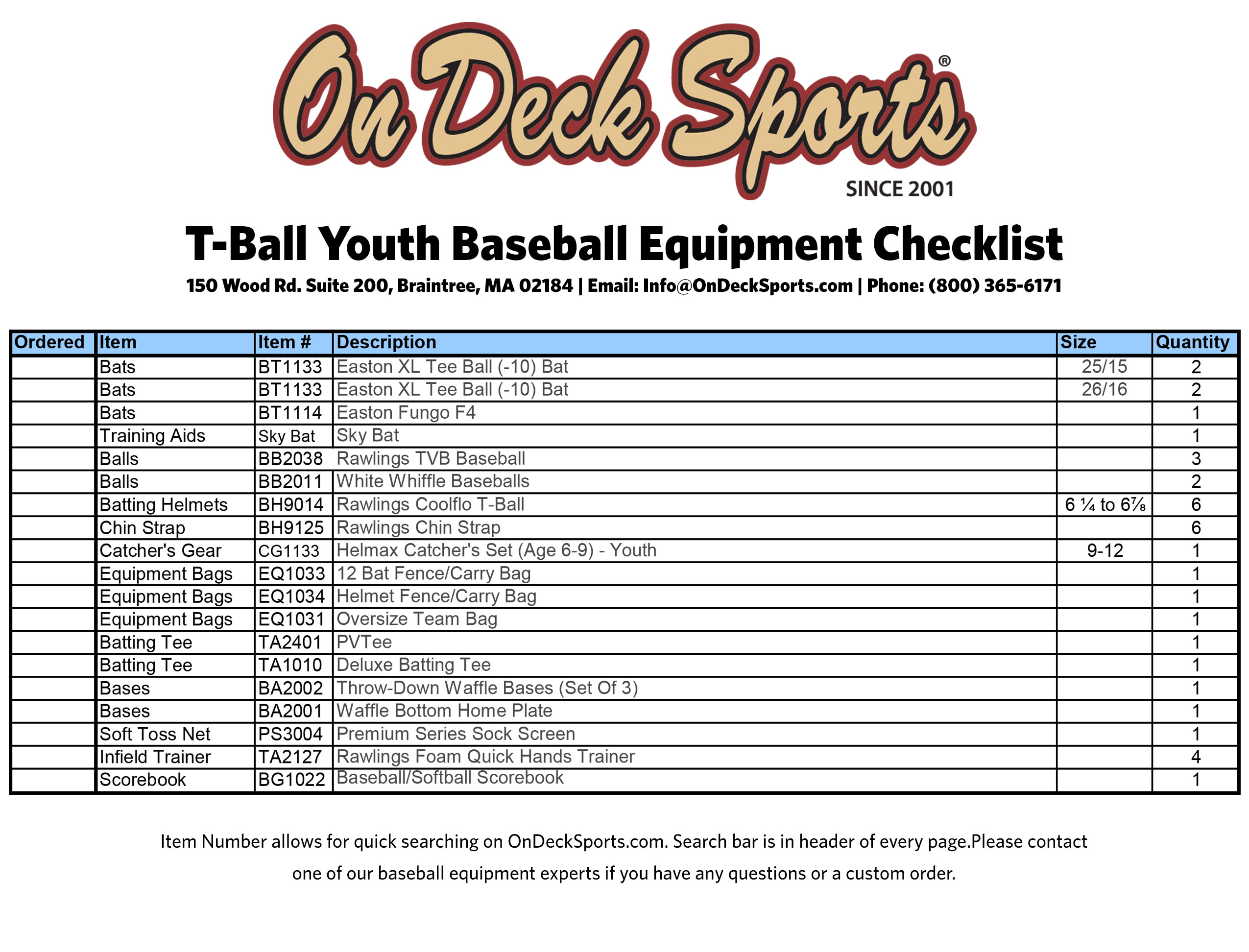 Ultimate Youth League Equipment Checklist